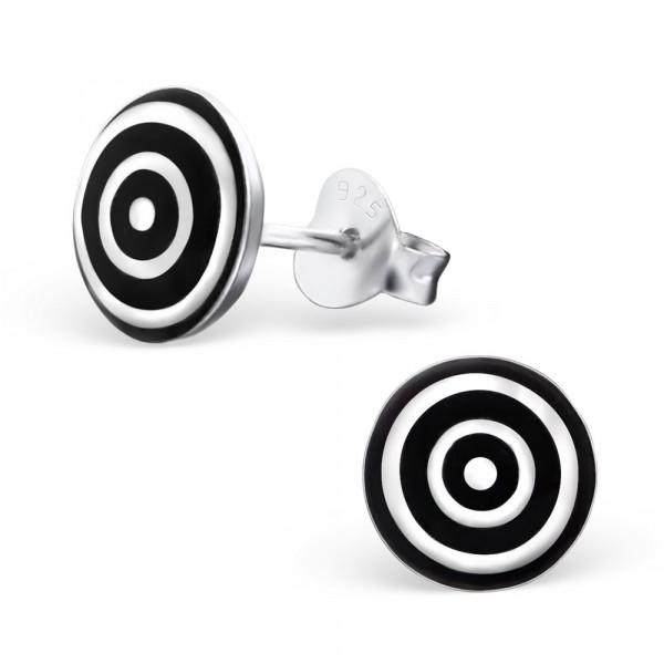 OS Button schwarz-weiße Kreise 925 Silber
