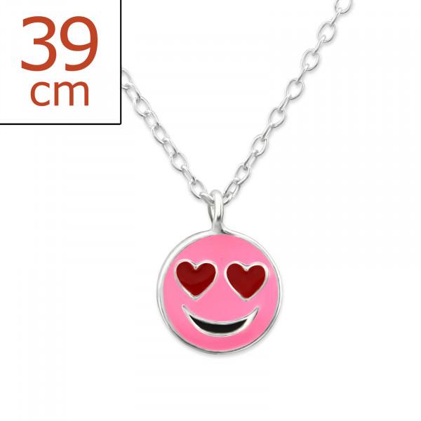 Kette Smiley pink 36 cm 925 Silber