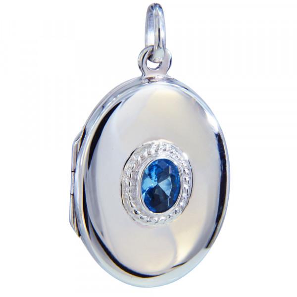Medaillon oval 30 mm mit 7x5 mm hellblau Kristall