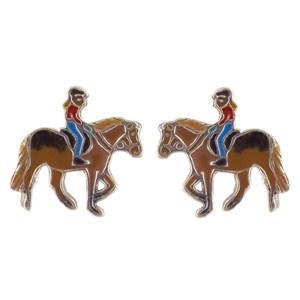 Pferd mit Mädchen Ohrstecker silber und braun