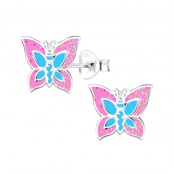Ohrstecker butterfly rosa 925 Silber e-coated