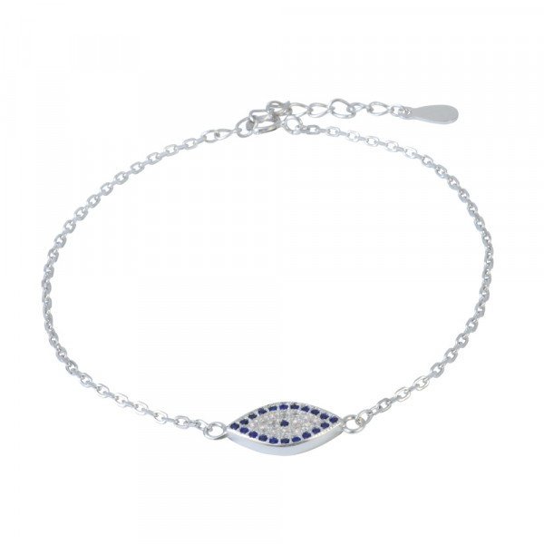AB Auge blau/weiße Glitzer 16 cm + 3,5 cm Verlängerung rhodiniert 925 Silber
