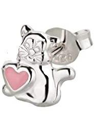 OS Katze mit rosa Herz 925 Silber e-coated