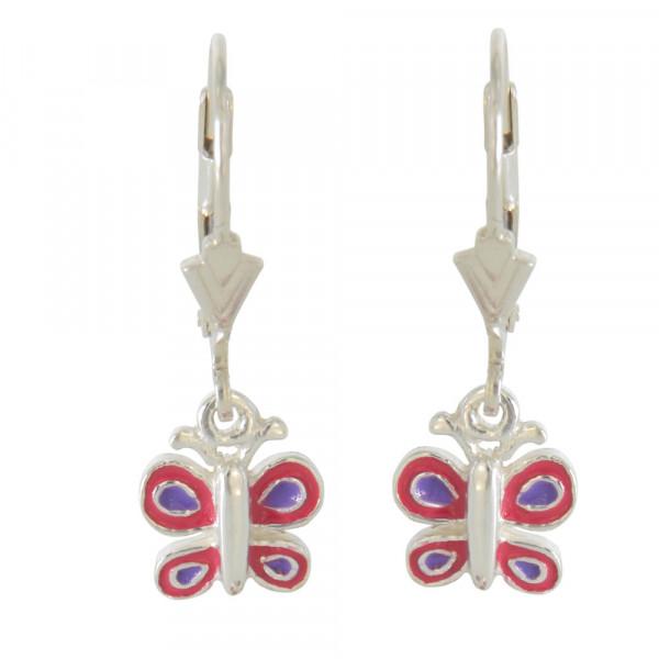 Ohrhänger 925 Silber Schmetterling rot + blau