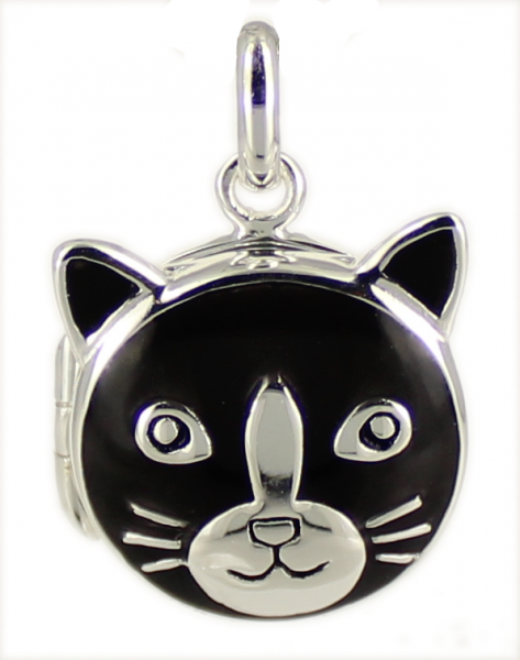 AH Medaillon Katze black 925 Silber