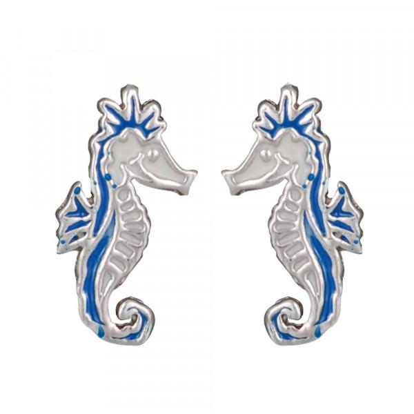OS Seepferdchen blau weiß 925 Silber e-coated