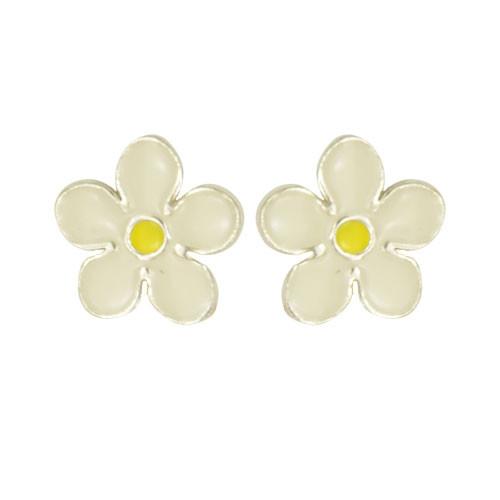 *OS Blume weiß/gelb 925 Silber