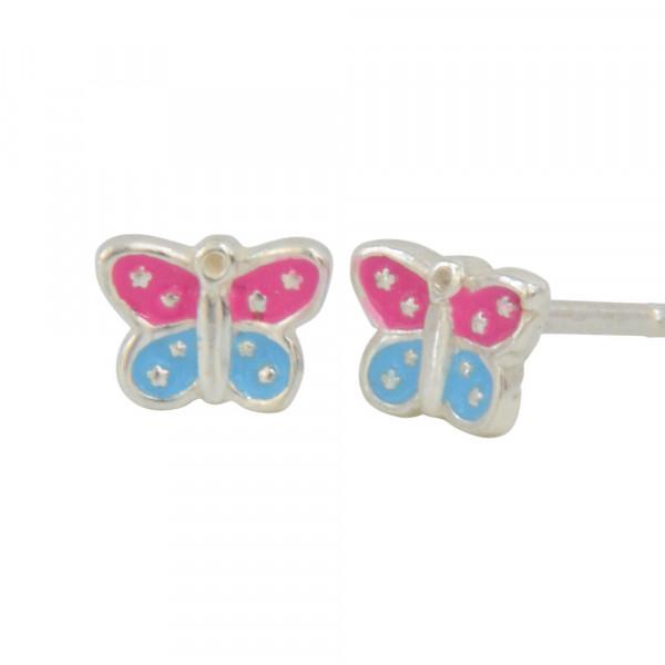 Ohrstecker 925 Silber Schmetterling pink + blau