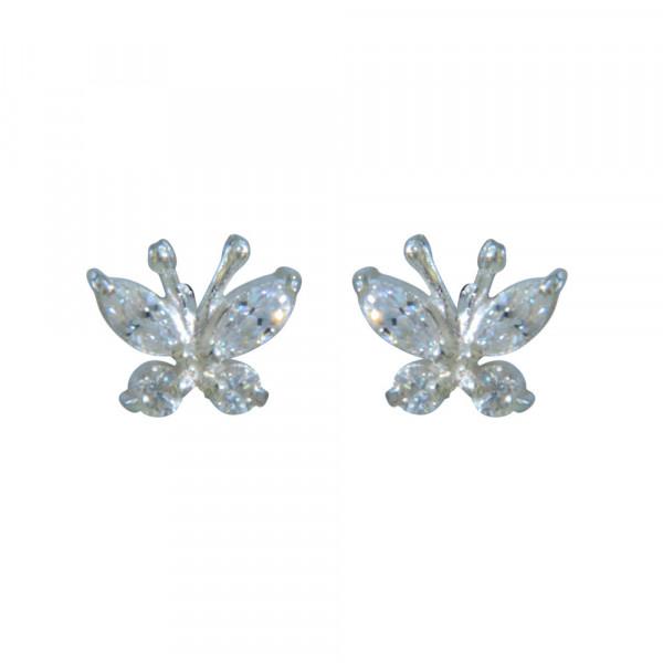 OS Schmetterling weiße Kristalle 925 Silber e-coated