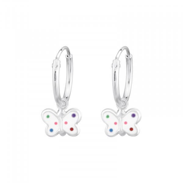 CREOLE Schmetterling weiß bunte Punkte 925 Silber e-coated