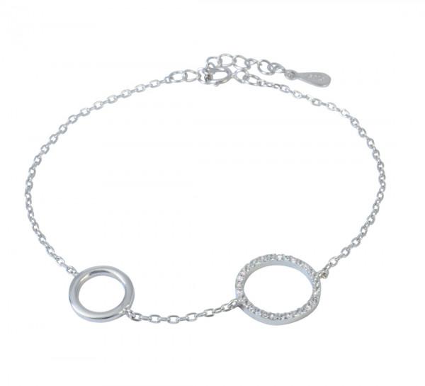 AB Kreis mit Glitzer 16 cm + 3,5 cm Verlängerung rhodiniert 925 Silber
