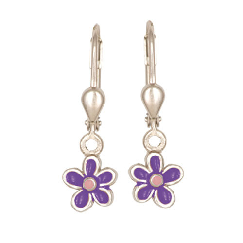 Blümchen Ohrhänger lila