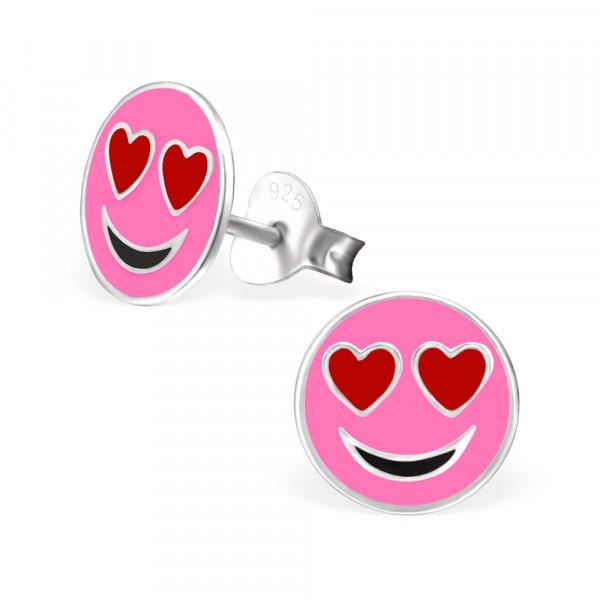 OS Button Emoticon Love rosa 925 Silber