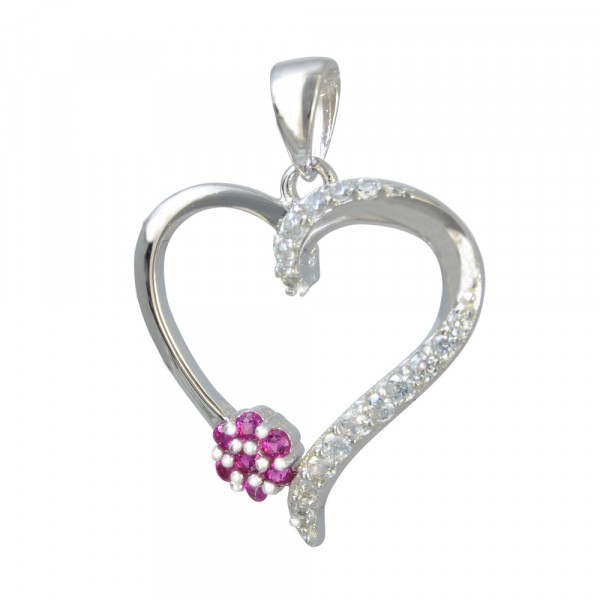 AH Herz mit pink Blüte u. Glitzer 925 Silber rhod.