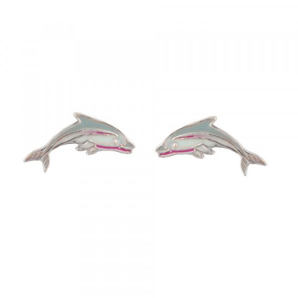 *Delphin Ohrstecker grau
