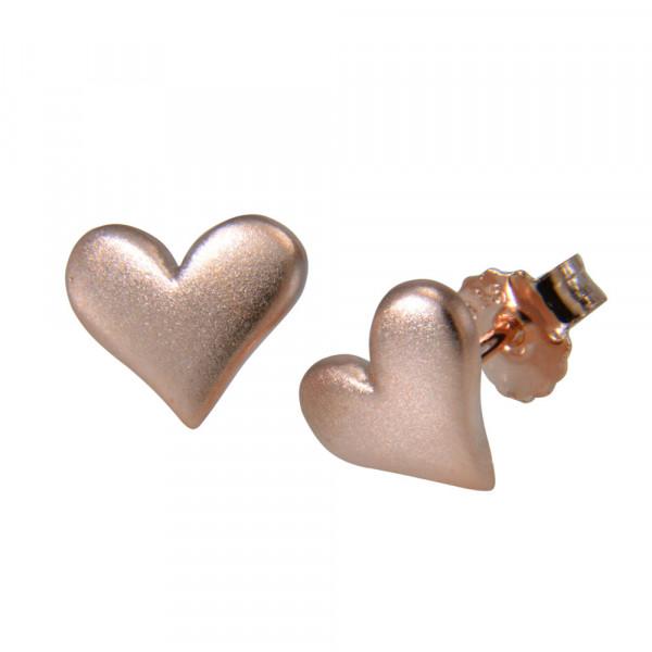 OS Herz mattiert rosé vergoldet 10 mm 925 Silber