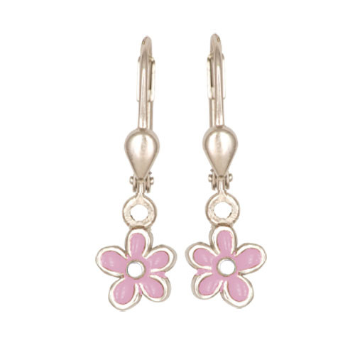 Blümchen Ohrhänger pink/weiß
