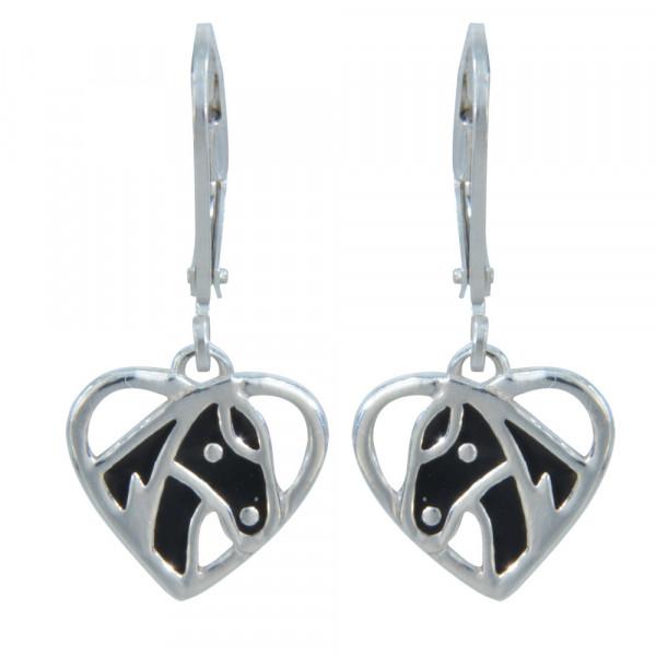 Ohrhänger 925 Silber schwarzer Pferdekopf im Herz