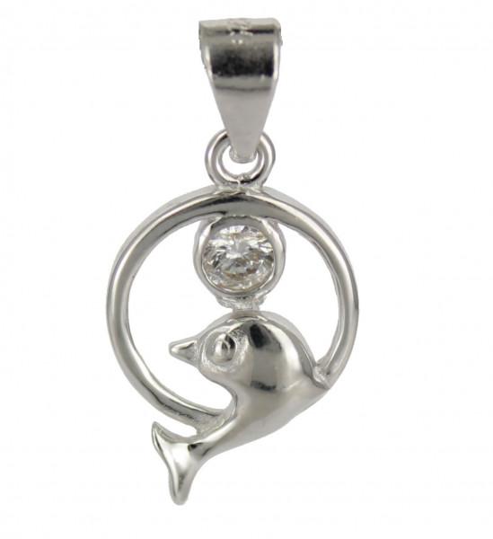 AH Delphin mit Crystal 925 Silber