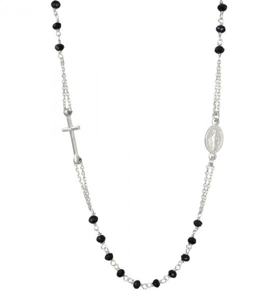 Kette Heiligenbild mit Kreuz u. schwarzen Perlen 925 Silber rhod. 49 cm