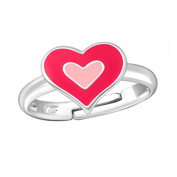 Ring Herz pink 925 Silber e-coated