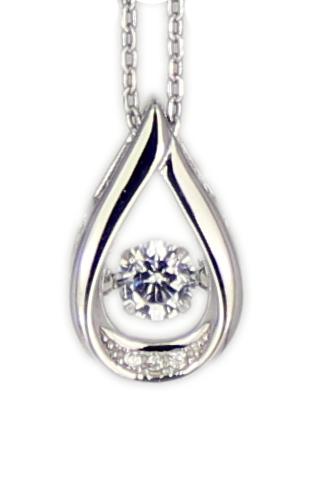 Kette Tropfen Dancing Diamond rhod.925 Silber 45 + 3,5 cm Verlängerung