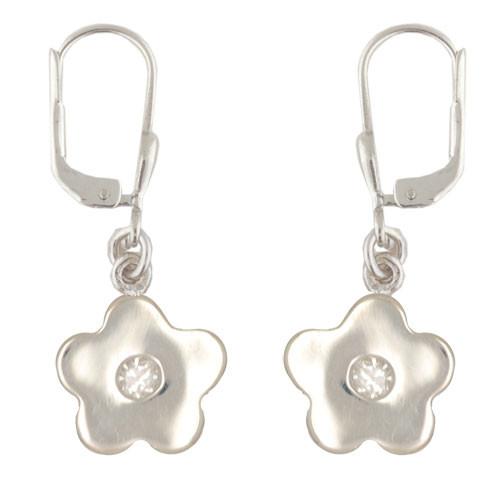 Blüte Ohrhänger mit Kristall weiß