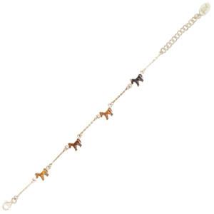 Pferd Armband silber und braun