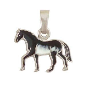 Pferd Anhänger silber und schwarz