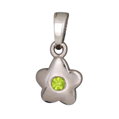 Blüte Anhänger mit Kristall grün