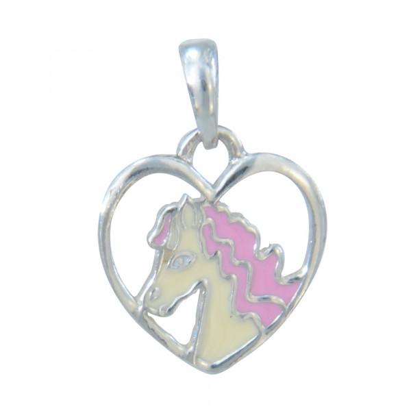 AH rosa Pferdekopf im Herz 925 Silber