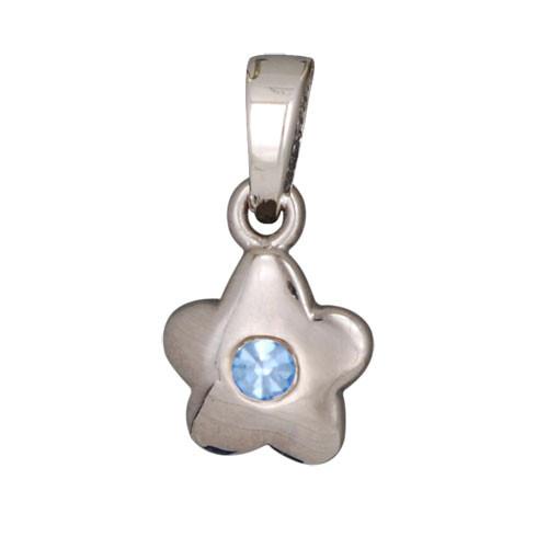 Blüte Anhänger mit Kristall blau