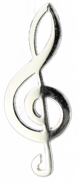 Brosche Notenschlüssel 45 mm 925 Silber e-coated