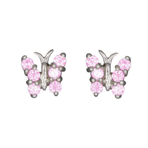 OS Schmetterling mit rosa Kristallen 925 Silber e-coated