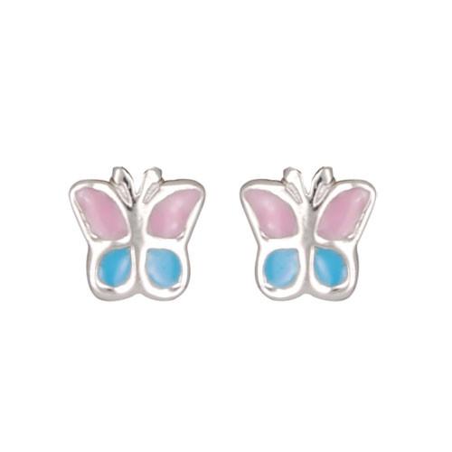 Schmetterling Ohrstecker rosa/blau