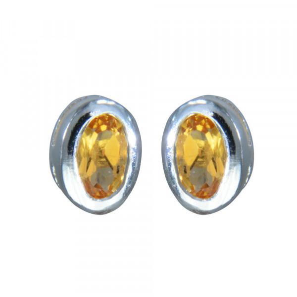 OS 6 mm oval ECHT Citrin 925 Silber
