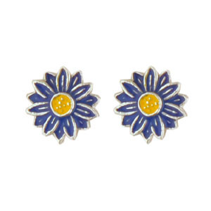 Blüte Ohrstecker blau