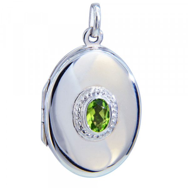 Medaillon oval 30 mm mit 7x5 mm peridot Kristall