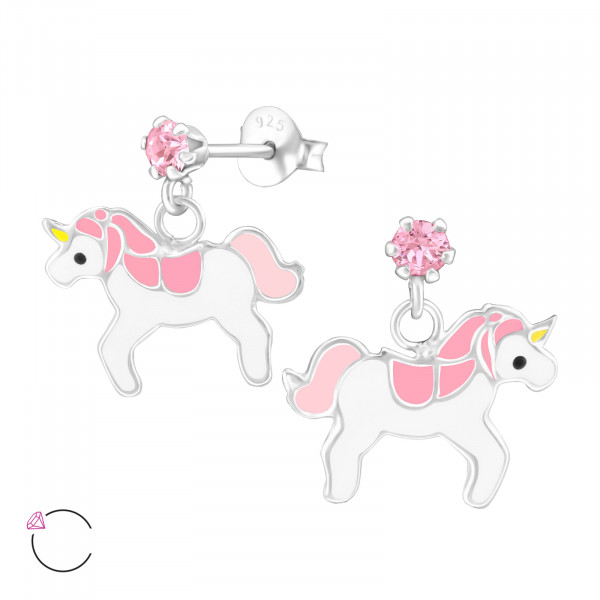 OS Einhorn mit rosa Kristall 925 Silber e-coated