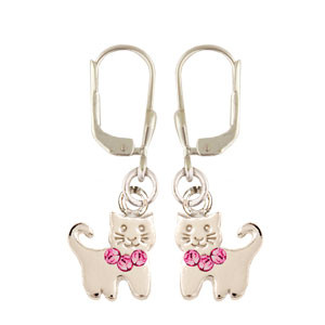 OH Kätzchen rosa Glitzer 925 Silber