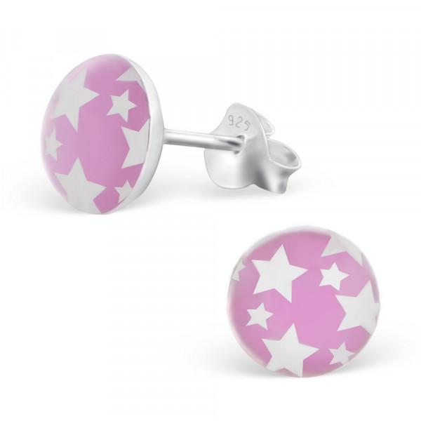 OS Button rosa/weiße Sterne 925 Silber