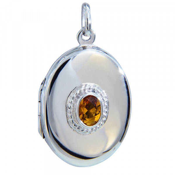 Medaillon oval 30 mm mit 7x5 mm citrin Kristall