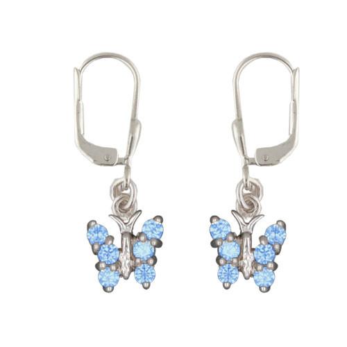 OH Schmetterling mit blauen Kristallen 925 Silber