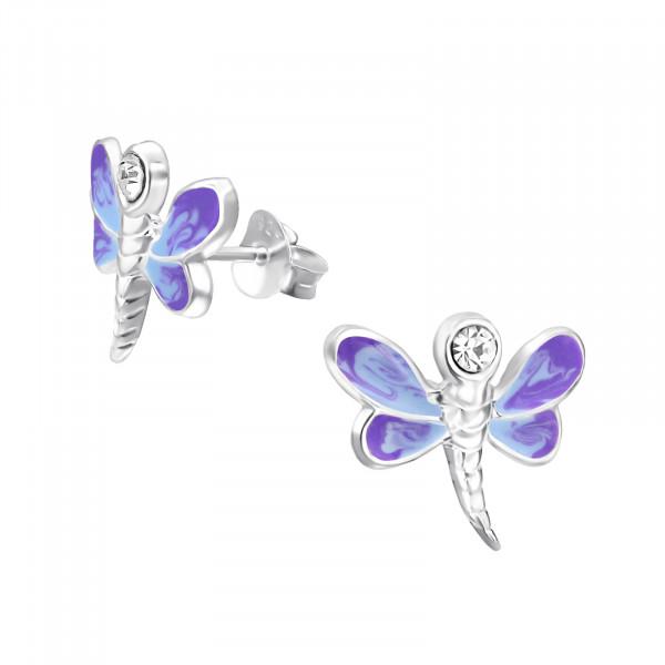 OS Libelle groß violet 925 Silber e-coated