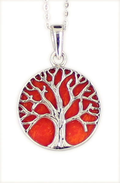 Kette 'Tree of life' Lebensbaum RED CORAL 925 Silber rhodiniert