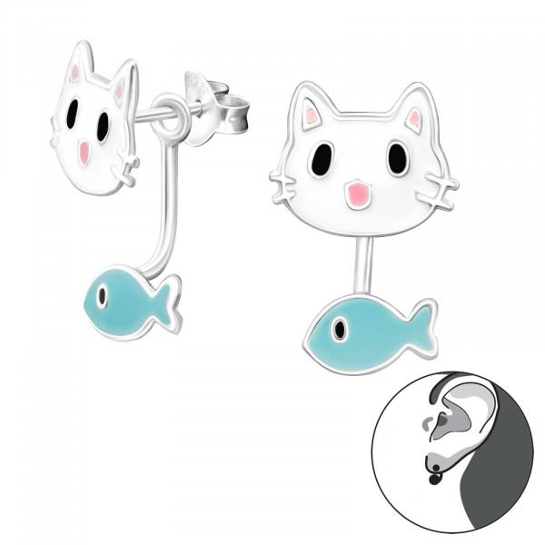 OS Katze mit Fisch 925 Silber e-coated