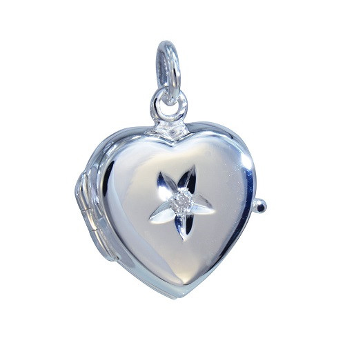 Herzmedaillon 20 mm mit echtem Diamanten