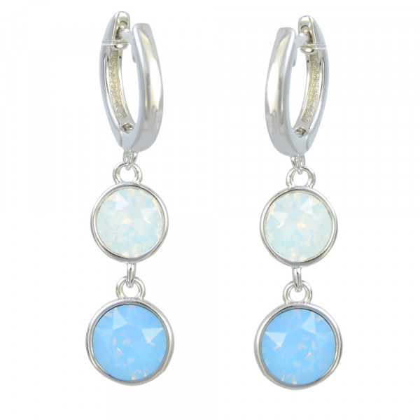 "Creole ""Summer Blue/white opal"" 925 Silber rhod."