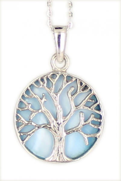 Kette 'Tree of life' Lebensbaum BLUE Mother of Pearl 925 Silber rhodiniert