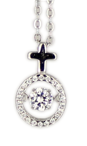 Kette Kreuz Dancing Diamond rhod.925 Silber 45 + 3,5 cm Verlängerung